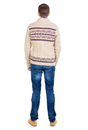 black sweater: Back view of handsome man in warm sweater looking up. Standing young guy in jeans. Rear view people collection.  backside view of person.  Isolated over white background.