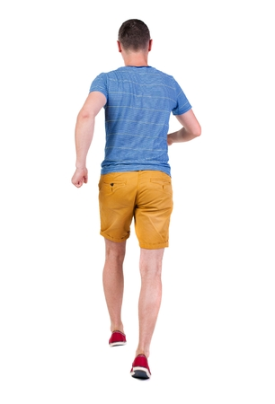 observes: Back view of running man in t-shirt and shorts. Walking guy in motion. Rear view people collection. Backside view of person. Isolated over white background. Stock Photo
