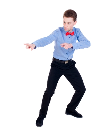 cautions: Referee suit and tie butterfly separates boxers. white background. the referee cautions. Stock Photo