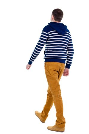 striding: Back view of walking handsome man in jeans and striped sweater.  young guy going . Rear view people collection.  backside view of person.  Isolated over white background. Stock Photo