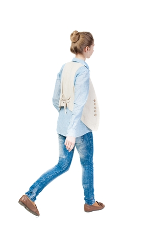 vest in isolated: back view of walking  woman. beautiful girl in motion.  backside view of person.  Rear view people collection. Isolated over white background. Girl in a vest is left.