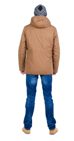 parka: Back view of handsome man in winter jacket  looking up.   Standing young guy in parka. Rear view people collection.  backside view of person.  Isolated over white background. Stock Photo