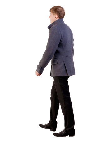 treading: Back view of going  young business man in gray coat.  walking young businessman . Rear view people collection.  backside view of person.  Isolated over white background.