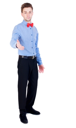 separates: Referee suit and tie butterfly separates boxers. Proud businessman holds out his hand in greeting. Stock Photo