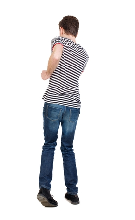 striped vest: A man in a jacket raised his hands in prayer. Curly guy dancing in a striped vest.
