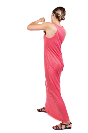 loser: skinny woman funny fights waving his arms and legs. slender woman in a long red dress fights.