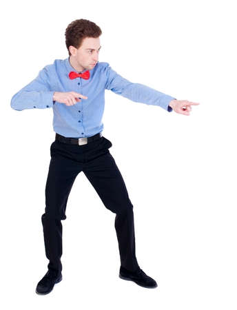 instructs: Referee suit and tie butterfly separates boxers. white background. the referee instructs hands.