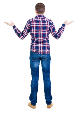 personas enojadas: Back view of angry young man in jeans and checkered shirt. Rear view. isolated over white. backside view of person.  Rear view people collection. Isolated over white background.