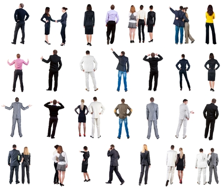 personas abrazadas: collection Back view of  business people. Rear view people collection. backside view of person. Isolated over white background. couples, teams, and people engaged in office work alone