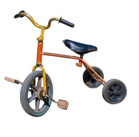 old vintage tricycle children bicycle. Isolated over white background
