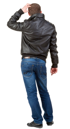 embarrassed: Back view of thinking  man.  embarrassed adult man in black jacket and jeans . Rear view people collection.  backside view of person.  Isolated over white background.