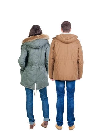 Back view group of people in jacket. Rear view team people collection.  backside view of person.  Isolated over white background. Stock Photo