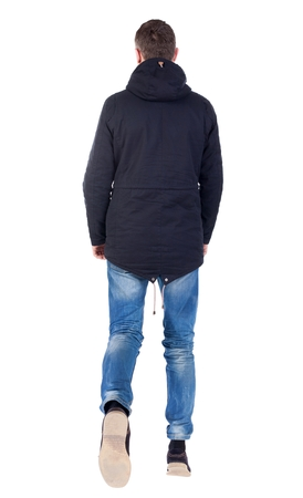 parka: Back view of going  handsome man in brown parka. walking young guy . Rear view people collection.  backside view of person.  Isolated over white background.