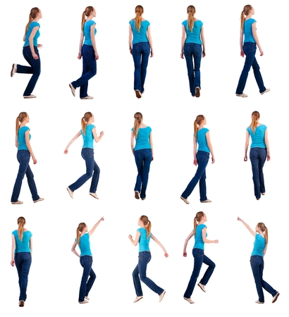 rushes: set back view of walking and running woman in jeans . beautiful blonde girl in motion. backside view of person. Rear view people collection. Isolated over white background. she rushes to meet someone Stock Photo