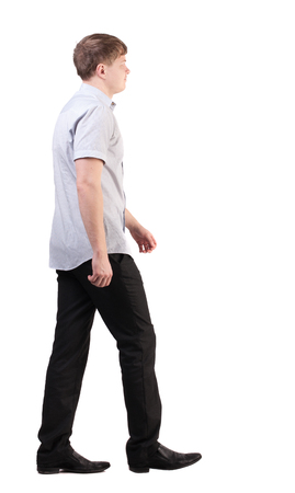 Back view of going  handsome business man in pink shirt  walking young businessman . Rear view people collection.  backside view of person.  Isolated over white background. office worker with a shot from a pants jacket goes away
