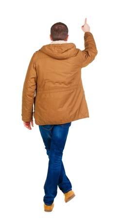 parka: Back view of  pointing young men in parka. Young guy  gesture. Rear view people collection.  backside view of person.  Isolated over white background.