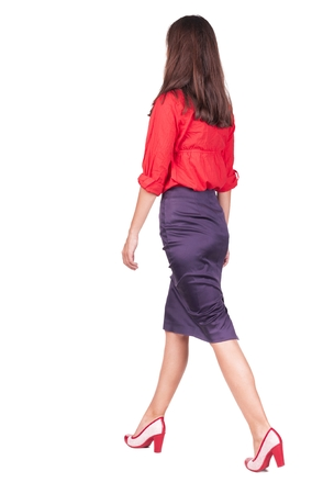 businesswoman suit: walking business woman. back view. going young girl in  suit. Rear view people collection.  back side view of person.  Isolated over white background.
