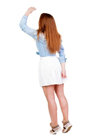 red head woman: back view of standing young red head woman. Rear view people collection.  backside view of person.  Isolated over white background.