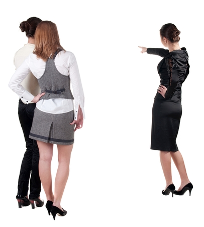 3 persons only: back view of three young business woman pointing. Team work. Rear view people collection.  backside view of person.  Isolated over white background.