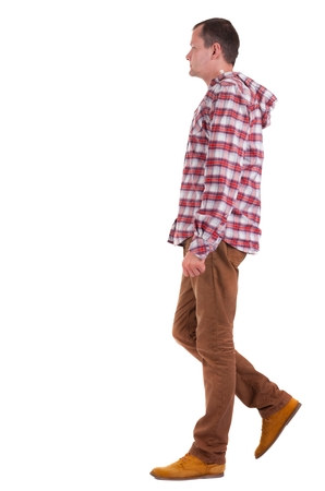treading: Back view of walking   guy in a plaid shirt with hood.  going young guy in jeans and  jacket. Rear view people collection.  backside view of person.  Isolated over white background.