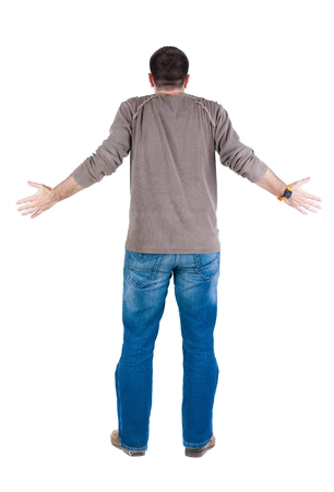 man rear view: Back view of shocked and scared young  man. Rear view. Isolated over white background.