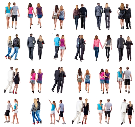 Collection Back view of walking  young couple.  Rear view people collection.  backside view of person.  Isolated over white background. young couples in official and street clothes moved Stock Photo