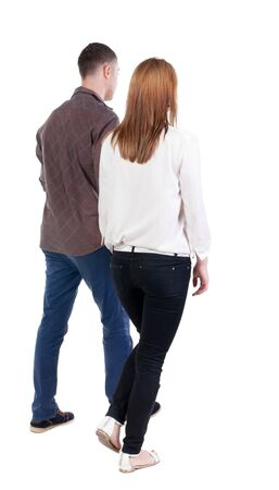 treading: Back view going couple. walking friendly girl and guy holding hands. Rear view people collection. backside view of person. Isolated over white background.