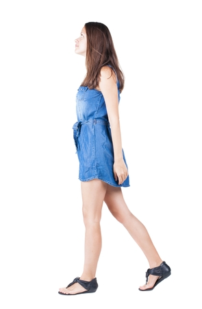 gir: back view of walking woman . going gir in motion. Rear view people collection.  backside view of person. Isolated over white background.