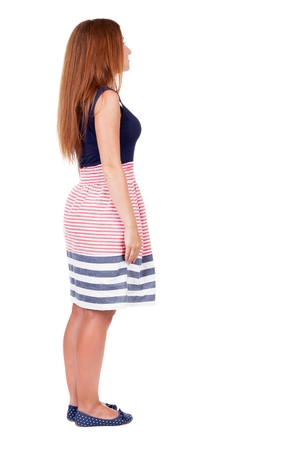 back view of standing young beautiful  woman. Rear view people collection.  backside view of person.  Isolated over white background.
