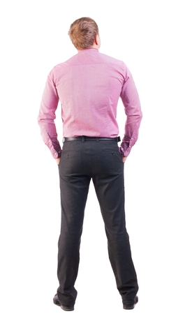 back view of business man  in red shirt looks ahead. Young businessman watching.   Rear view people collection.  backside view of person.  Isolated over white background. office worker with a sports figure looks away