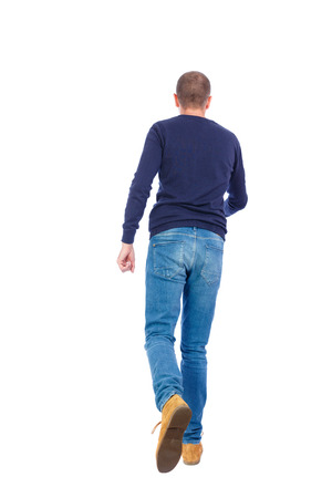 treading: Back view of going  handsome man. walking young guy . Rear view people collection.  backside view of person.  Isolated over white background. Man in warm jacket runs off into the distance.