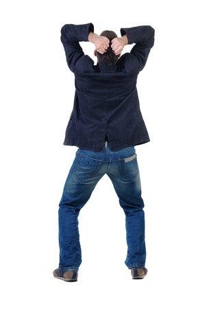 man rear view: angry young man. Rear view. isolated over white Stock Photo