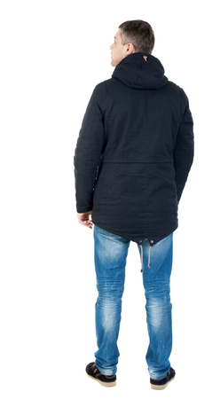 parka: Back view of handsome man in winter jacket  looking up.   Standing young guy in parka. Rear view people collection.  backside view of person.  Isolated over white background. man in jacket looking to the right