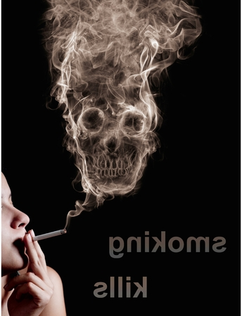 the kills: woman smoking a cigarette. Of smoke formed skull dead, as a symbol of the dangers of smoking to health and imminent death of people. The concept  smoking kills. Isolated on a black background Stock Photo