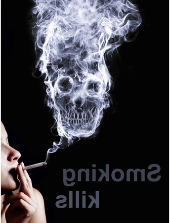 the kills: woman smoking a cigarette. Of smoke formed skull dead, as a symbol of the dangers of smoking to health and imminent death of people. The concept smoking kills. Isolated on a black background
