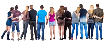 observers: Back view group of couple. Rear view people pair collection.  backside view of person.  Isolated over white background.