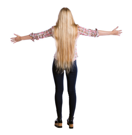 Back view of  business woman.  Raised his fist up in victory sign.    Raised his fist up in victory sign.  Rear view people collection.  backside view of person.  Isolated over white background. Long-haired girl spreading her hands on her hips.