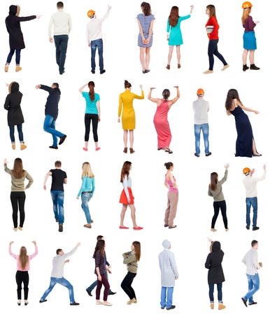 pushes: Collection Back view people. Rear view people set. backside view of person. Isolated over white background.