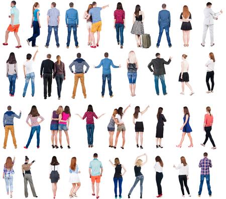 컬렉션 다시보기 사람들입니다. 후면보기 사람들이 설정합니다. 사람의 뒷면보기입니다. 흰색 배경 위에 격리.