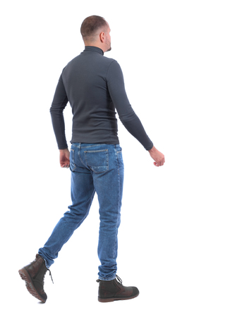 Back view of going  handsome man. walking young guy . Rear view people collection.  backside view of person.  Isolated over white background. A man in a gray sweater goes away.