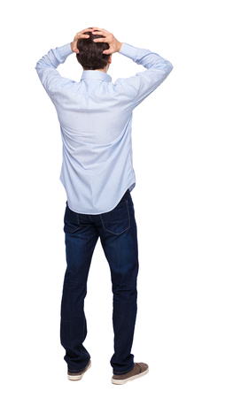 Back view of shocked business man. Upset adult businessman. Rear view people collection.  backside view of person.  Isolated over white background. The guy in the shirt is terrified.