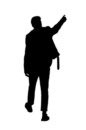 Back view black silhouette of a man walking with a pointing hand. going guy showing.  backside view of person.  Rear view people collection. Isolated over white background.