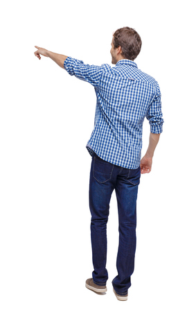 Back view of a man walking with a pointing hand. going guy showing.  backside view of person.  Rear view people collection. Isolated over white background.