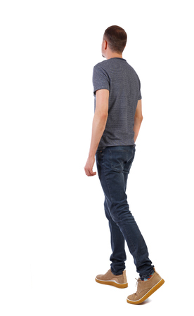 Back view of going  handsome man . walking young guy . Rear view people collection.  backside view of person.  Isolated over white background.