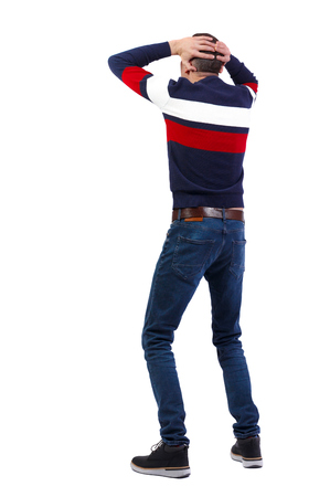 Back view of shocked man. Rear view people collection. backside view of person.  Isolated over white background.