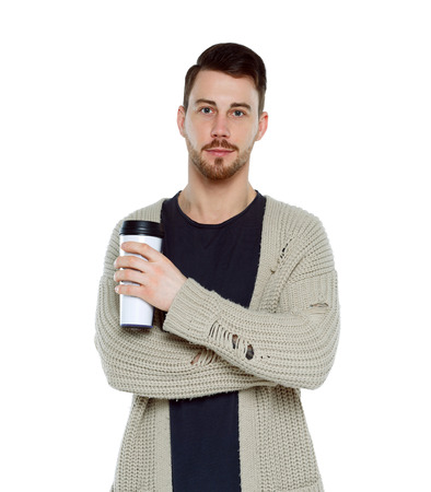man with coffee cup. Front view of person. Isolated over white background.  Coffee lover smiles