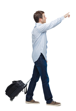 Side view of walking business man with suitcase talking on the phone. Standing young girl. Rear view people collection.  backside view of person. Isolated over white background. Young businessman with a suitcase passes showing his hand up.