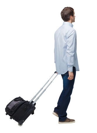 Side view of walking business man with suitcase talking on the phone. Standing young girl. Rear view people collection.  backside view of person. Isolated over white background. Young businessman with a suitcase goes into the distance. Imagens