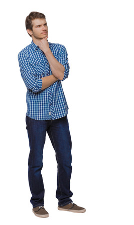 Front view of man in jeans. Standing young guy. Rear view people collection.  backside view of person.  Isolated over white background. The guy in the shirt thoughtfully put a finger to his chin.
