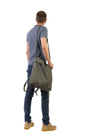 Back view of a man with a green bag. backside view of person. Postman with a big bag. Rear view people collection. Isolated over white background.